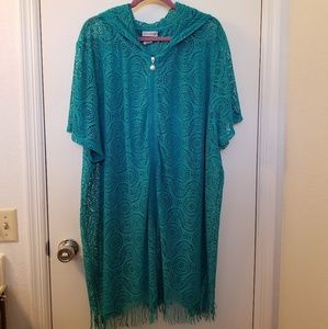 NWOT Catherines 4X Teal Zip Front Swimsuit Coverup